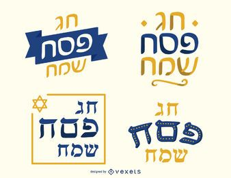 Happy passover lettering set