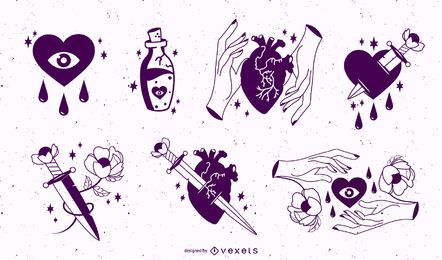 Paquete de pegatinas anti San Valentín