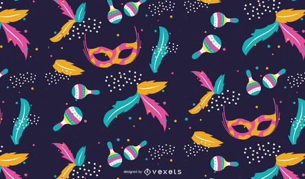 Desenho de padrão colorido de carnaval