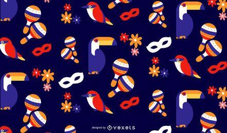 Diseño de patrón de pájaros de carnaval