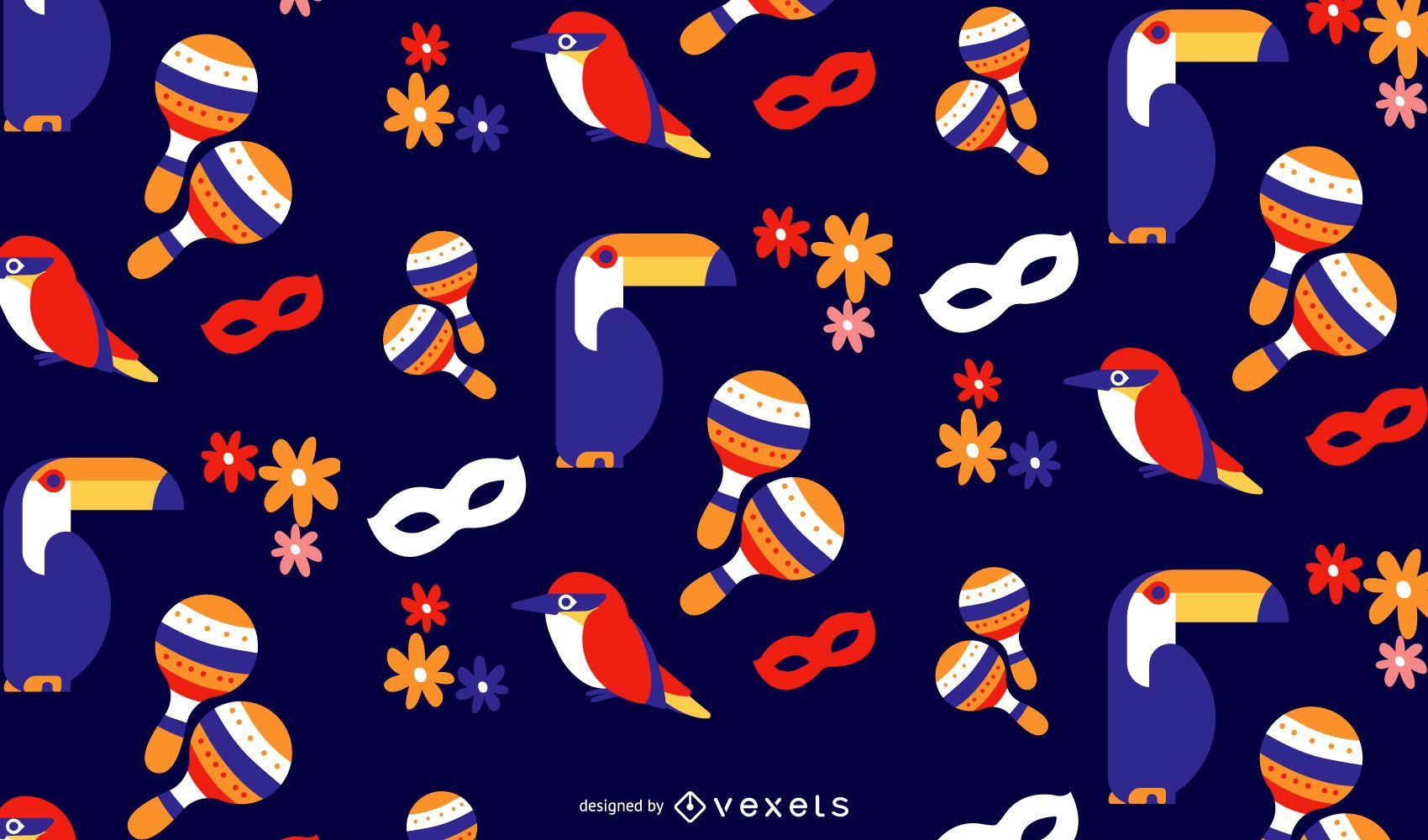 Carnival birds pattern design