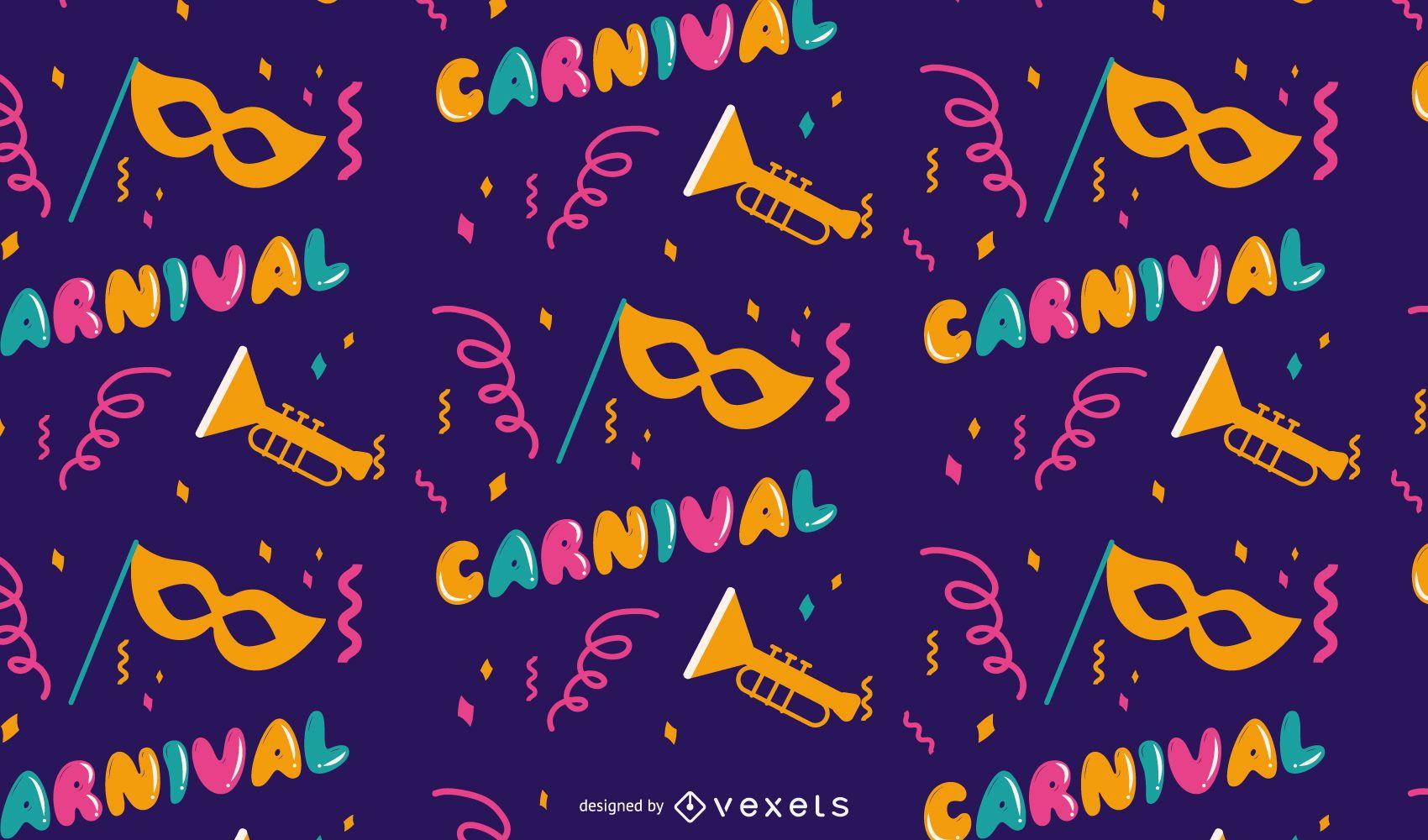 Diseño de patrón de carnaval de Mardi Gras