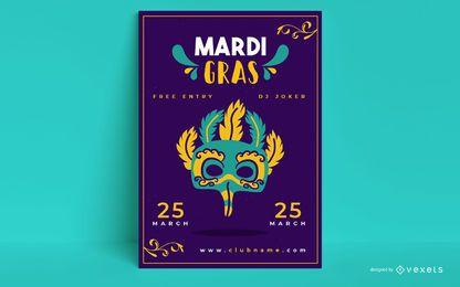 Plantilla de póster de mardi gras