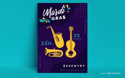 Design de cartaz de festa de carnaval