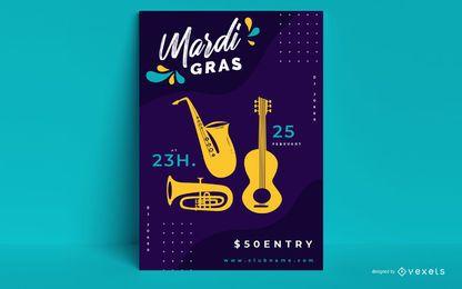 Diseño de carteles de fiesta de Mardi Gras