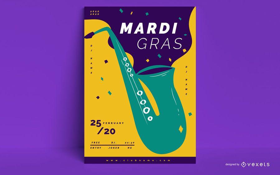 Cartel del evento de Mardi Gras