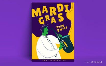 Diseño de carteles musicales de Mardi Gras