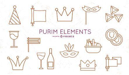 Pacote de elementos de traço Purim