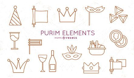 Purim Stroke Elements Pack