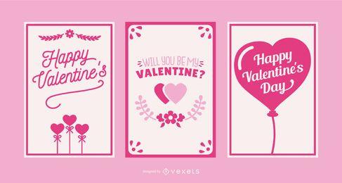 Valentinstag-Kartensatz