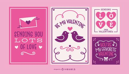 Valentine's day cards set