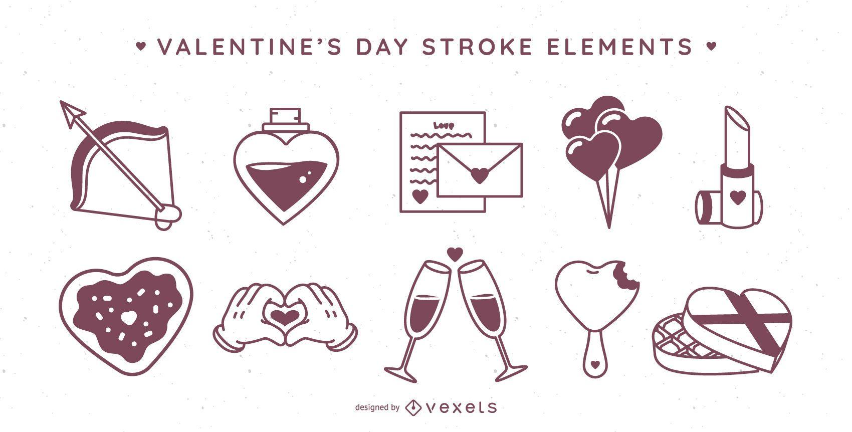 Valentine's day stroke elements set