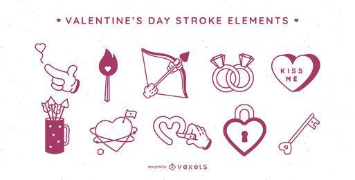 Elementos de trazo de San Valentín
