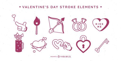 Valentinstag Schlaganfall Elemente