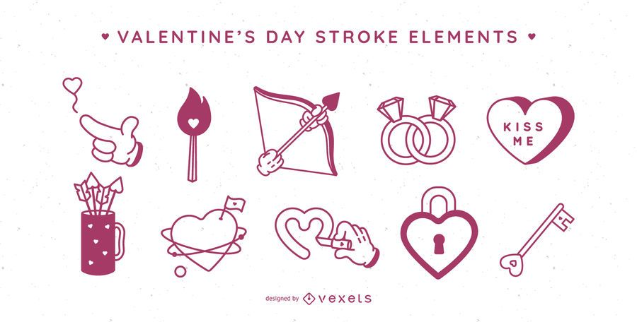 Valentine's day stroke elements