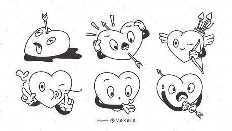 Conjunto de corações dos desenhos animados dia dos namorados