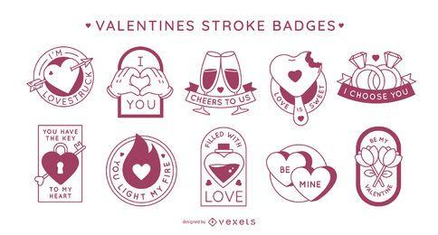 Emblemas de traçado de dia dos namorados