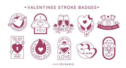 Valentine's day stroke badges