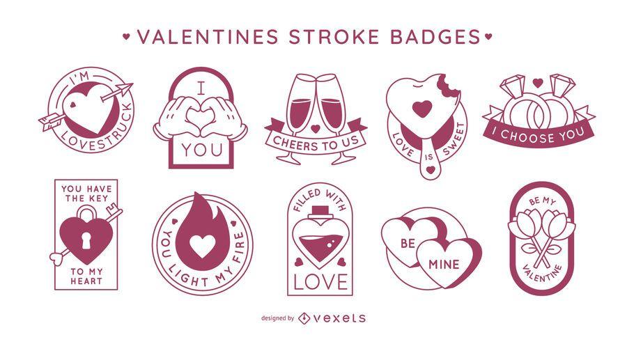 Valentine's day stroke badges