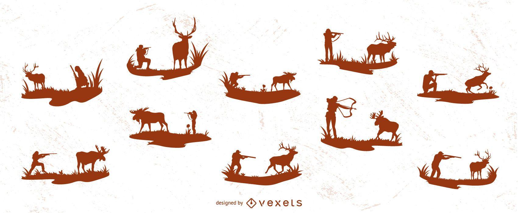 Colección de silueta de caza de ciervos