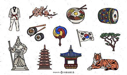 Pacote de elementos coloridos da Coréia do Sul