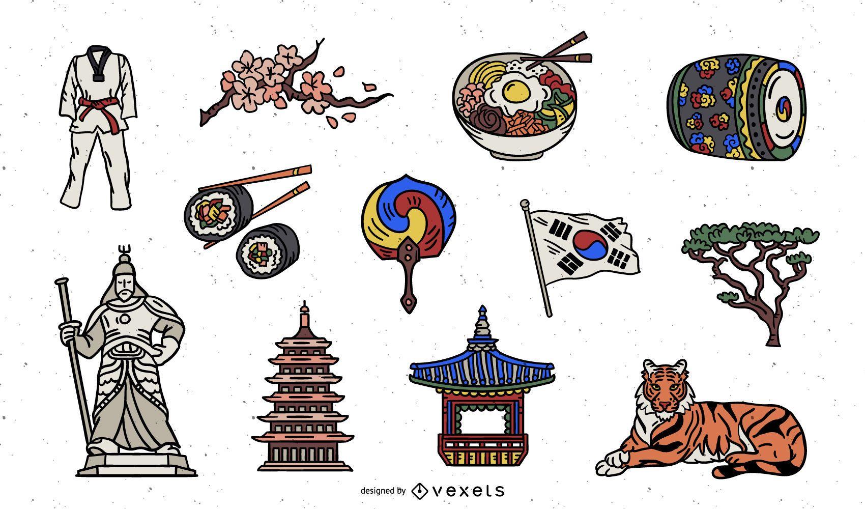 Paquete de elementos de colores de Corea del Sur