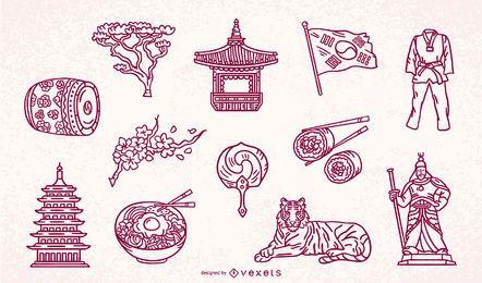 Paquete de trazos de elementos de Corea del Sur