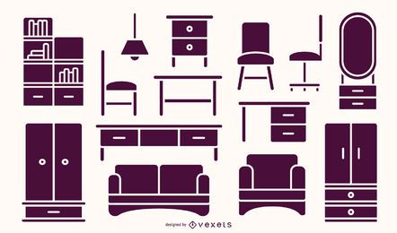 Pacote de silhueta de móveis planos