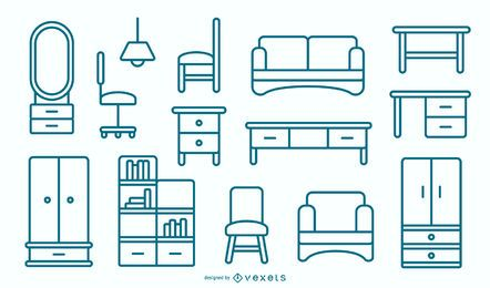Flat Furniture Stroke Design Pack