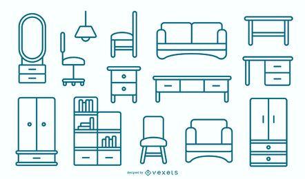 Paquete de diseño de trazo de muebles planos