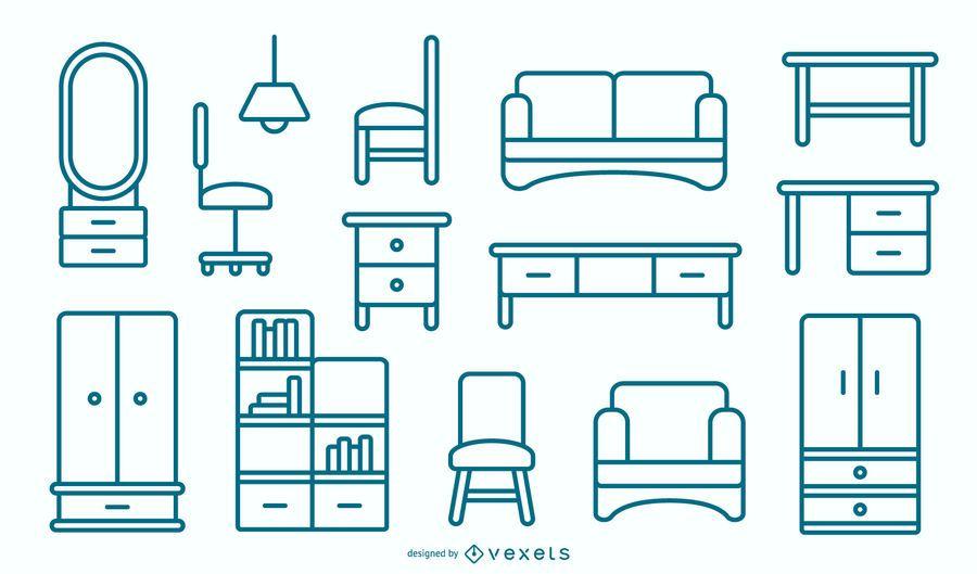 Flat Furniture Stroke Design Pack