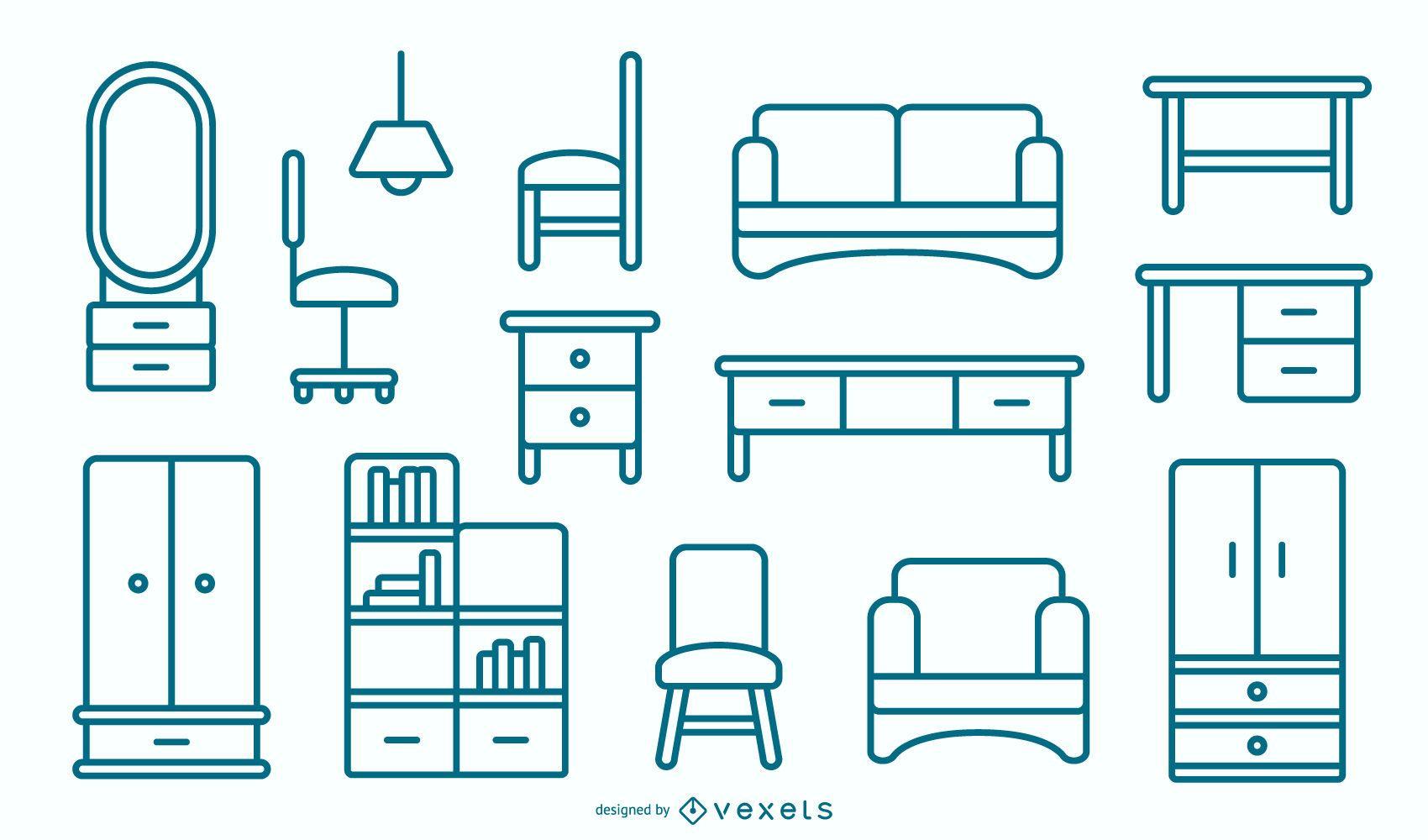 Pacote de design para móveis planos