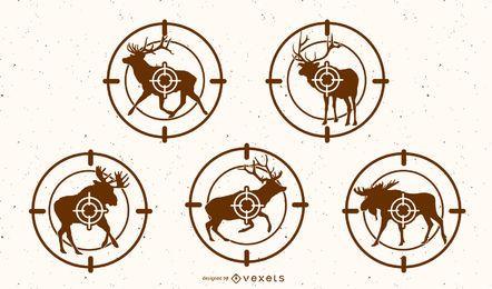 Conjunto de silueta de objetivo de ciervos