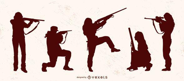 Conjunto de silhueta de mulher caçando