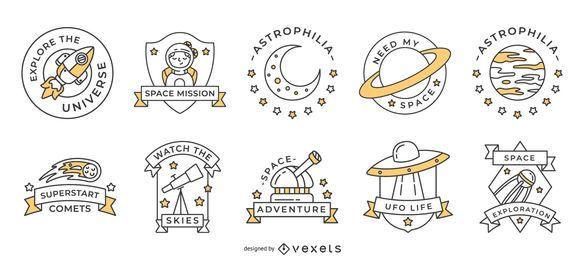 Pacote de emblemas de espaço para traços