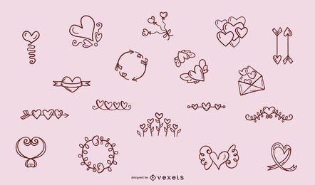 Colección de adornos de corazones dibujados a mano