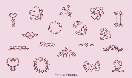 Hand drawn heart ornaments collection