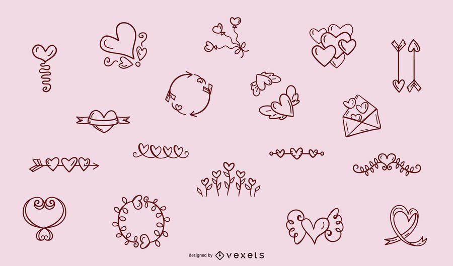 Colección de adornos de corazón dibujado a mano