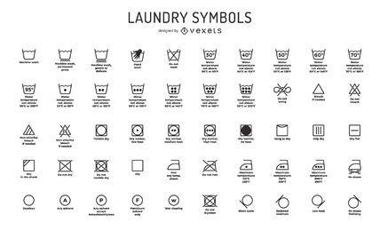Coleção de símbolos de lavanderia