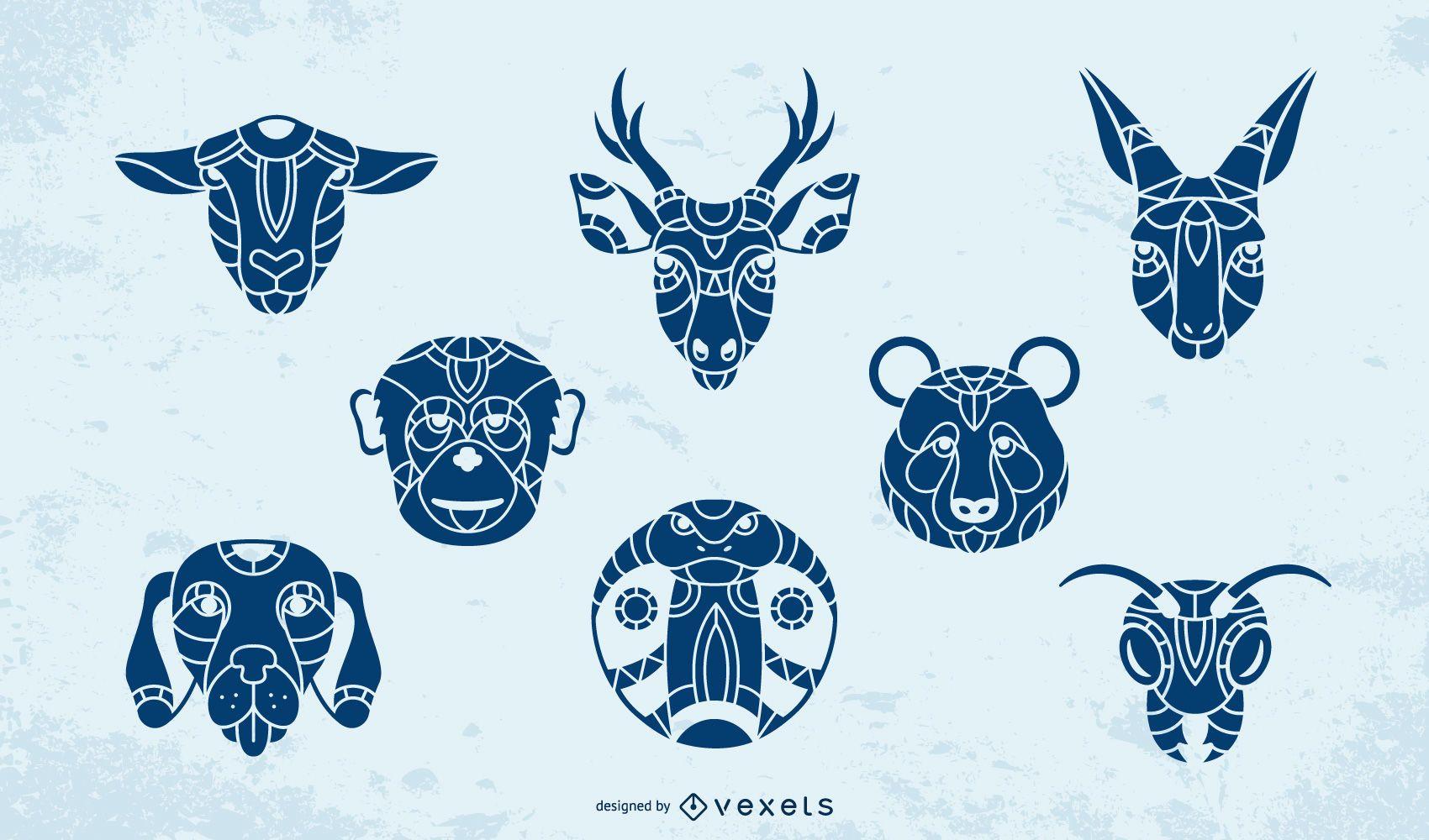 Conjunto de animales mandala azul