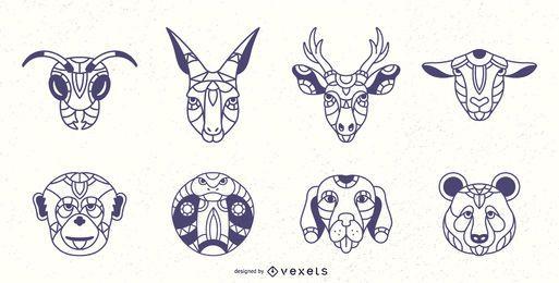 Conjunto de traço de animais mandala