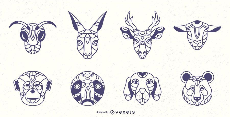 Conjunto de trazo de animales Mandala