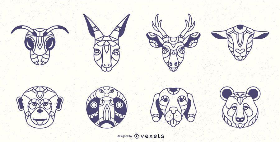 Mandala animals stroke set