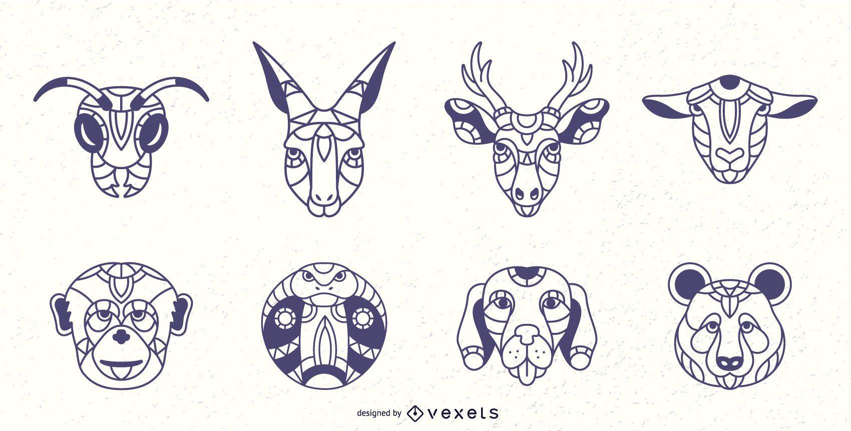 Conjunto de carícias de animais mandala