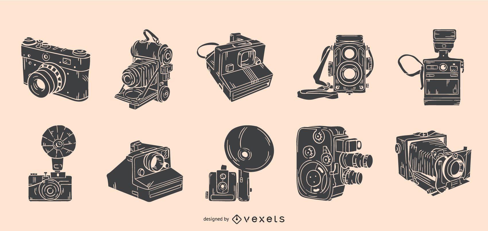 Conjunto de câmeras vintage