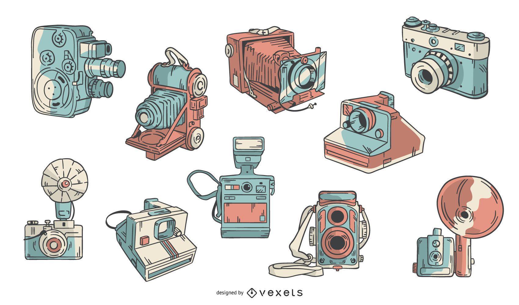 Conjunto de câmeras vintage desenhadas à mão