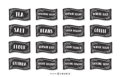 Conjunto de etiquetas de alimentos de despensa
