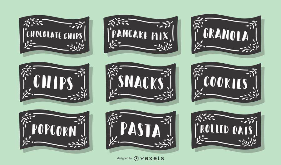 Paquete de etiquetas de alimentos de despensa