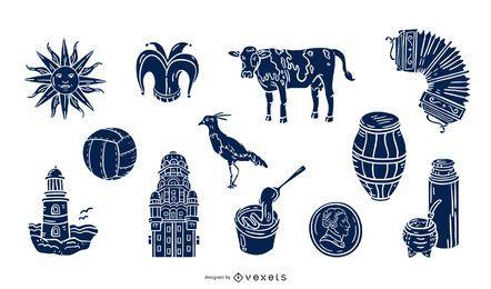 Conjunto de silueta de elementos de Uruguay