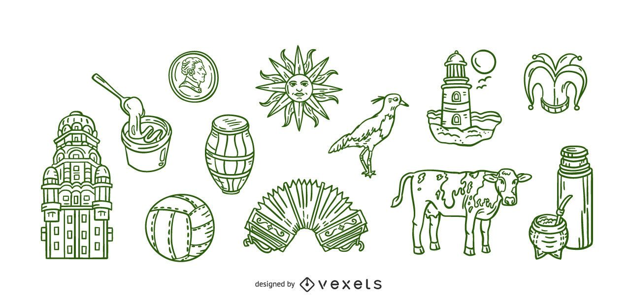 Conjunto de trazos de elementos uruguayos